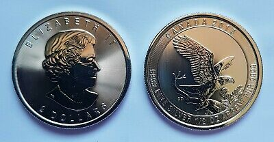 Canada 2 Dollars $2 2015 Canadian Bald Eagle Silver 9999 1/2 ounce 0.5 oz Coin