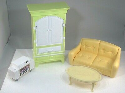 Barbie Furniture Lot Armoire Sofa Coffee Table TV Stand VCR