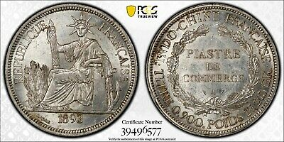 F031 Rare 1893-A French Indo China PCGS MS61. Mintage only 795,000