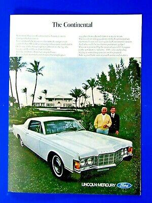 1969 Lincoln Continental Black Original Print Ad-8.5 x 11/""