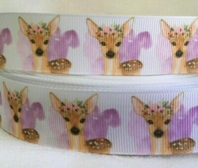 """Deer/Fawn Grosgrain Ribbon sold by 2m - 1"""" wide - Craft- Hair Bows"""