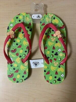 Disney Parks Colorful Summer Collection Mickey Mouse Fruity Flip Flops Size 7