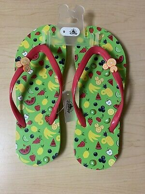 Disney Parks Colorful Summer Collection Mickey Mouse Fruity Flip Flops Size 9