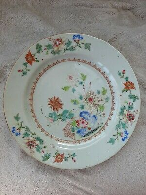 Chinese Famille Rose Antique Plate. 18/19Th Century.