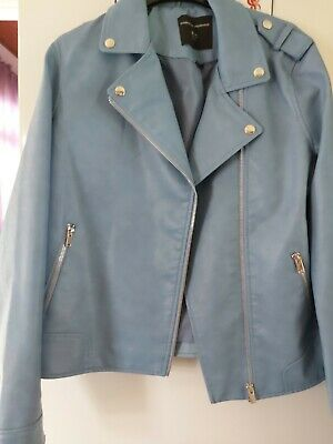 Ladies/Girls Faux Leather Biker Jacket By Dorothy Perkins Size 14