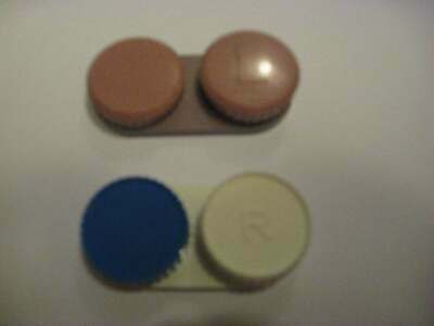 Two Brand New Contact Lens Holders (Mauve/Pink and Blue/White)