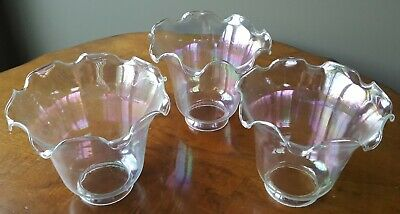Lot of 3 vintage iridescent fluted glass lamp shades