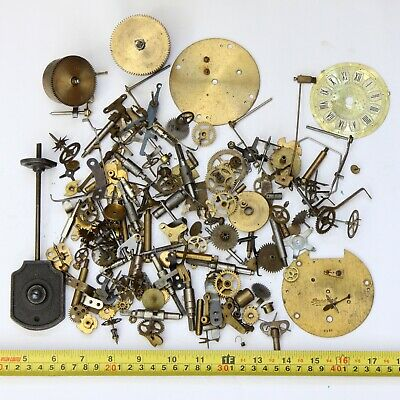 1.5kg Job lot of vintage clock spares parts cogs gears wheels - steampunk craft
