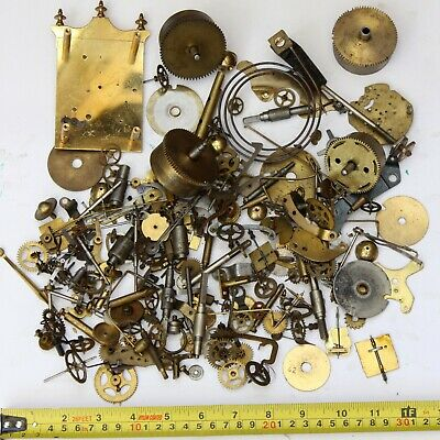 1.9kg Job lot of vintage clock spares parts cogs gears wheels - steampunk craft