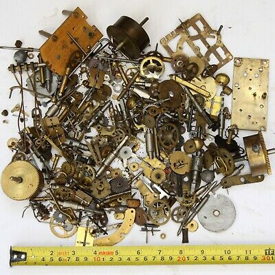 2kg Job lot of vintage clock spares parts cogs gears wheels - steampunk craft