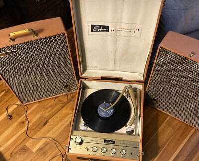 Vintage Brown SYMPHONIC Suitcase Record Player- Works! with Speakers model 1728