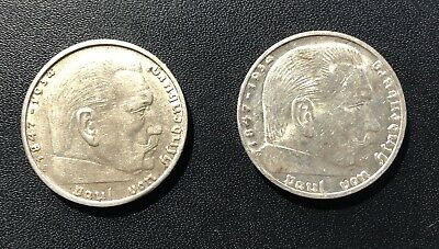 Germany (Third Reich) 1938B and 1938E 2 Marks Silver Coins