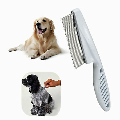 Pet Dog Cat Puppy Kitten Flea Comb Stainless Pin Hair And Fur Grooming Brush UK