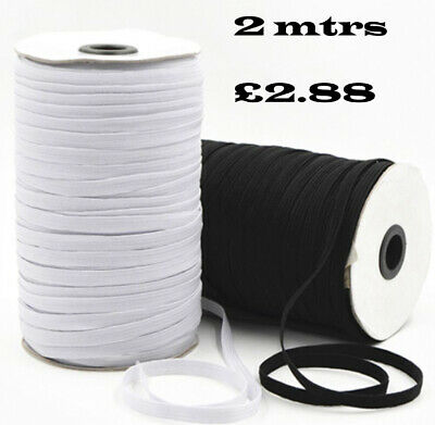 2,4,6 mtrs White or Black Quality Flat Elastic Cord Ideal For Sewing Face Masks