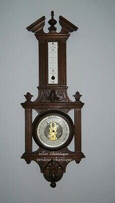 Genuine Antique Barometer in wood, metal, brass and bevelled glass US