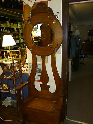antique OAK hall tree seat rack bench tree  beveled mirror REFINISHED 1900's