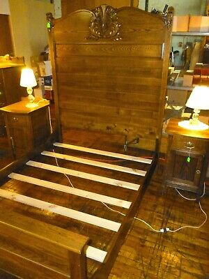 "Antique OAK Bed full size Ash refinished 1900's ornate carvings Bedroom 73"" High"