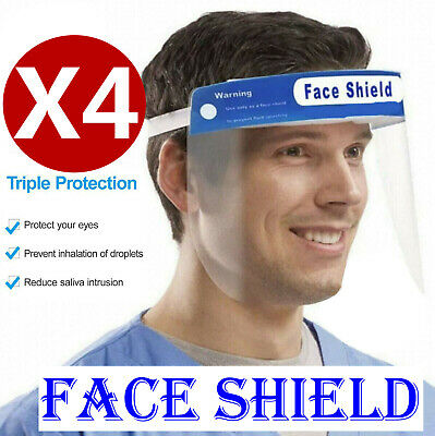 4Pc Full Face Covering Visor Eyes Shield Protection Reusable Splash Guard Safety