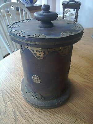 Antique 19th century wooden tobacco jar with brass overlay
