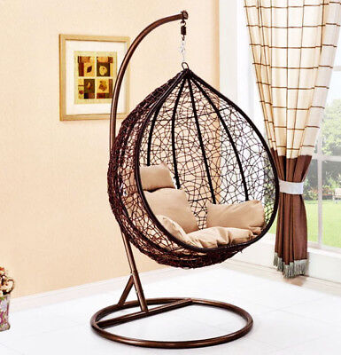 Hanging Rattan Swing Patio Garden Chair Weave Egg w/ Cushion In Outdoor new