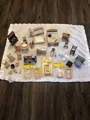Lot of Vintage Dollhouse Furniture Miniatures Sofa, Table Chairs Piano, Bathroom