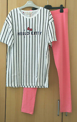 MANGO Girls Hello Kitty Striped Long Top & Next Pink Leggings Age 13-14 Yrs BNWT