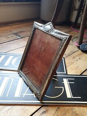 Large 10 inch Antique Art Nouveau hallmarked Silver photo Frame picture frame