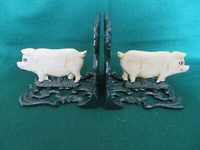 Cast  Iron Pair Of Pig Bookends