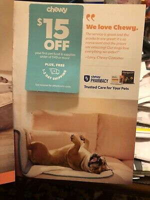 CHEWY: $15 Off First Order of $49 +Shipping Internet Coupon Code [8/31/20]