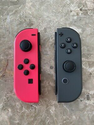 Pink (Left) & Gray (Right) Joy Con Controllers For Nintendo Switch AS IS - READ