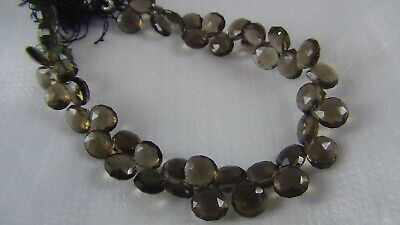 102Ct NATURAL SMOKY QUARTZ FACETED BRIOLETTES BEADS  STRAND JEWELLERY MAKING