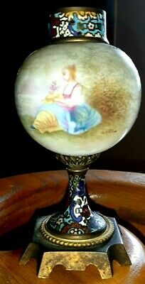 Ca 1900's antique french porcelain and bronze enamel signed painted candle stick