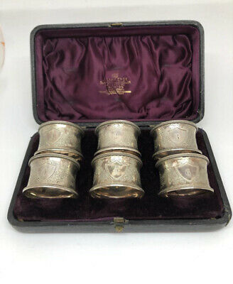 Set Of 6 Victorian Silver Napkin Rings