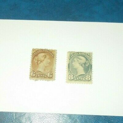 Canada Stamp Small Queens SC 43 And 44 Mint No Gum MNG Queen Victoria