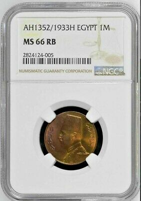 Egypt, King Fuad, 1 Millieme 1933H, Extremely Rare, NGC MS 66 RB, Top Pop Grade