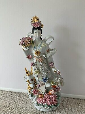 Chinese porcelain figurine Goddess of Sea. Excellent! 36 Inches tall!