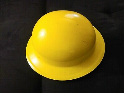 "Vintage Willson Geotec Fiberglass Yellow Round Hard hat 12"" x 11""~Made in USA"