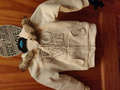 Girls Cream Fleece Hoodie Age 5 Vgc