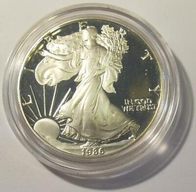 1986-S U.S. American Silver Eagle * Proof * In Hard Plastic Holder * No Reserve