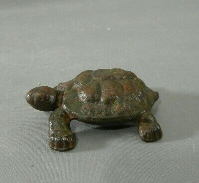 Antique Cast Iron Hubley MINIATURE Turtle Paperweight