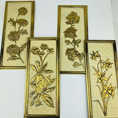 Vintage Set of 4 Elpeg Made in England Medal Stamped Floral Wall Hangings