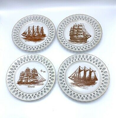 SET Vintage Listed Mark Myers Nautical Ship Drawing Pierced Porcelain Plates