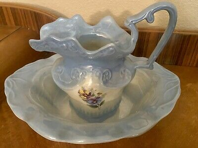 Arnel's (?) Blue Luster Pansy Water Pitcher And Wash Basin Vintage Floral