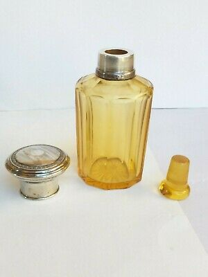Antique amber glass scent bottle silver 800  top