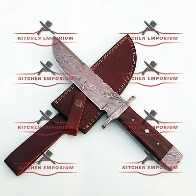12'' Custom Handmade Damascus Steel Hunting Combat Survival Tactical Bowie Knife