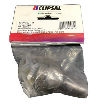 Clipsal 439/4HD 500VAC 10A 4 Pin Male Plug Top 0.75mm Heavy Duty 439