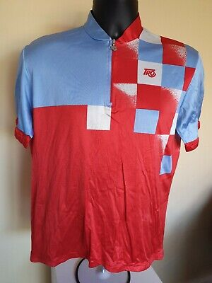 Vintage Tro Red & Blue Cycling Silk Jersey Size XL