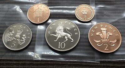 1980 PROOF part set of 5 small coins half penny 1p 2p 5p 10p Royal Mint pence