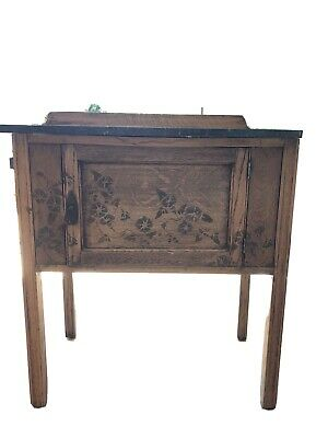 Small oak washstand with marble top