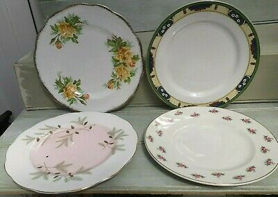 Beautiful Vintage Mismatched Floral Bone China Tea Side/salad Plates x4x 8nch/13